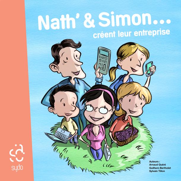 La couv' de Nath&Simon. Tout l'ouvrage est en couleurs. Papier de qualité, couverture rigide et cartonnée, 20*20cm, franchement une fois en mains c'est un très très chouette objet.