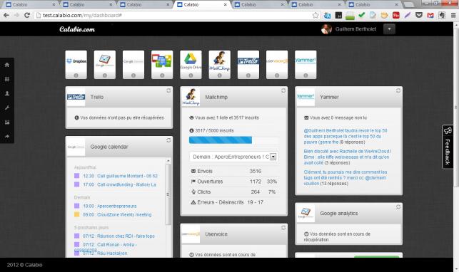 Le dashboard que nous proposions, avec une dizaine de SaaS pluggés dessus, permettant sur une seule page (dont on pouvait même choisir le fond d'écran :) de voir les infos principales de ses logiciels : atteinte de quotas, derniers partages, dernières discussions, remontées d'analytics, ... en mode dashboard pro SaaS donc. Sûrement le plus beau morceau de code que nous ayions fait, c'était quand même un joli logiciel avec le recul !
