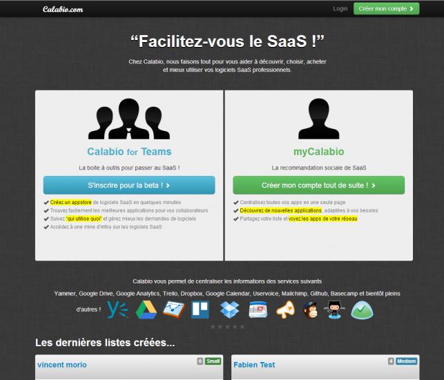 La page d'accueil de Calabio / myCalabio